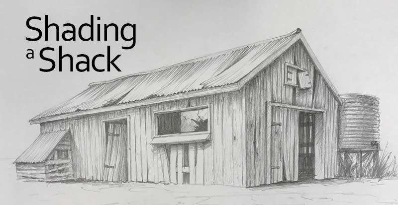perspective drawing of an old farm shack